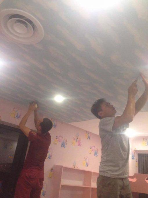 Thi công Giấy dán tường Hàn Quốc phòng bé Linh Chi Chung Cư Mipec Long Biên