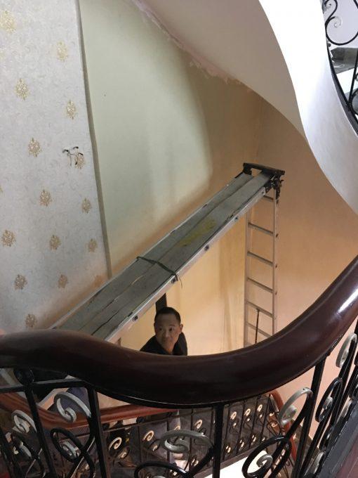 Thi công giấy dán tường Hàn Quốc nhà 4 tầng anh Đạt Bát Tràng