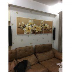 Thi công giấy dán tường Hàn Quốc nhà chị Nhung Chung cư Ecopark
